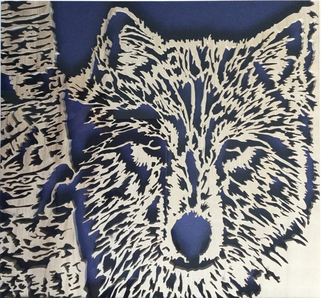 hand carved wolf illustration